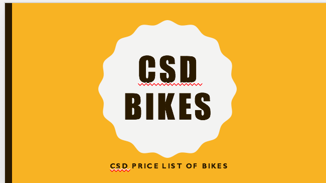 CSD PRICE LIST OF BIKES