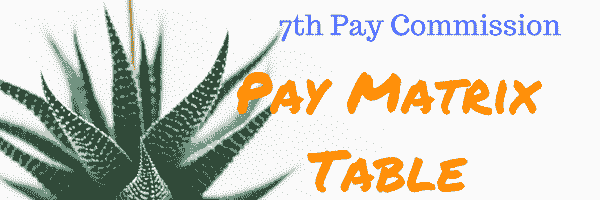 7th pay commission matrix table
