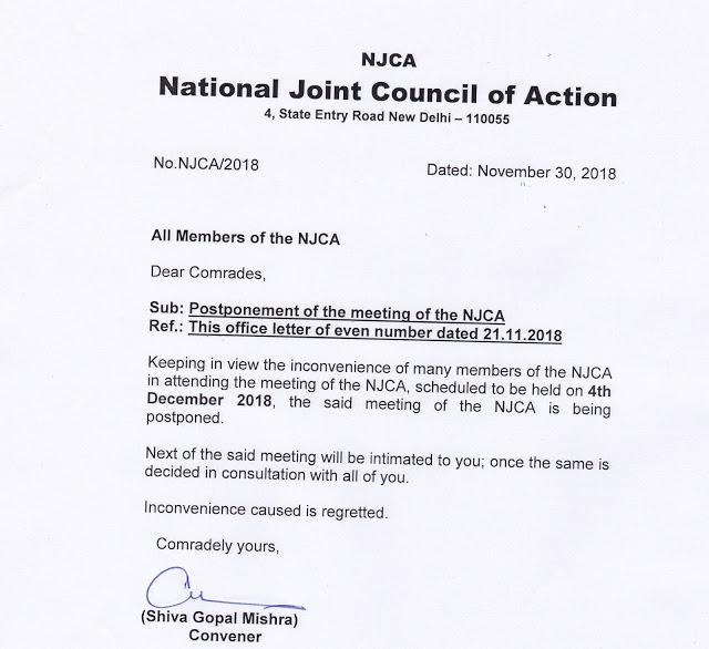 Meeting of the NJCA postponed to 4th Dec 2018