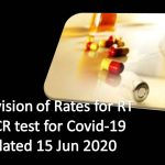 Revision of Rates for RT PCR test for Covid-19 dated 15 Jun 2020