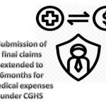 Submission of final claims extended to 6months for medical expenses under CGHS