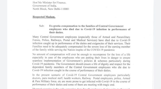Ex-gratia compensation of Rs. 50 lakh to the families of Central Government employees who died due to Covid-19