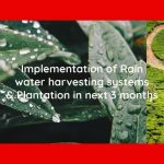 Implementation of Rain water harvesting systems & Plantation in next 3 months