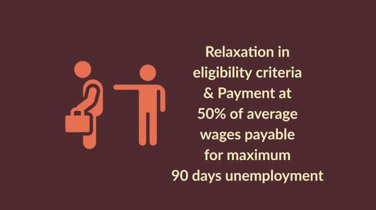 Relaxation in eligibility criteria & Payment at 50% of average wages payable for maximum 90 days unemployment