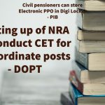 Setting up of NRA to conduct CET for subordinate posts - DOPT