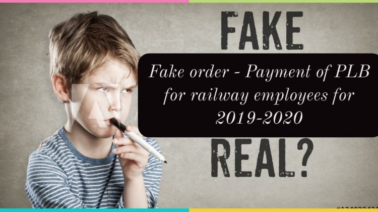 Fake order - Payment of PLB for railway employees for 2019-2020