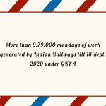 More than 9,79,000 mandays of work generated by Indian Railways till 18 Sept, 2020 under GKRA