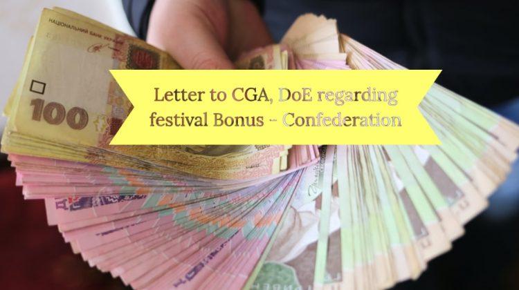 Letter to CGA, DoE regarding festival Bonus - Confederation