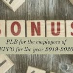 PLB for the employees of EPFO for the year 2019-2020