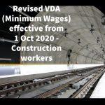Revised VDA (Minimum Wages) effective from 1 Oct 2020 - Construction workers