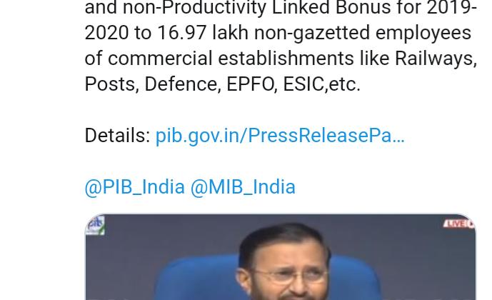 Productivity Linked Bonus (PLB)for the year 2019-2020