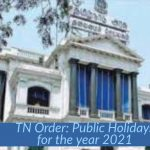 TN Order- Public Holidays for the year 2021