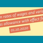 Minimum rates of wages and variable dearness allowance with effect from 01.10.2020