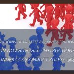 Nationwide protest by Confederation on Nov 26th, 2020 -Instructions under CCS (Conduct Rules), 1964