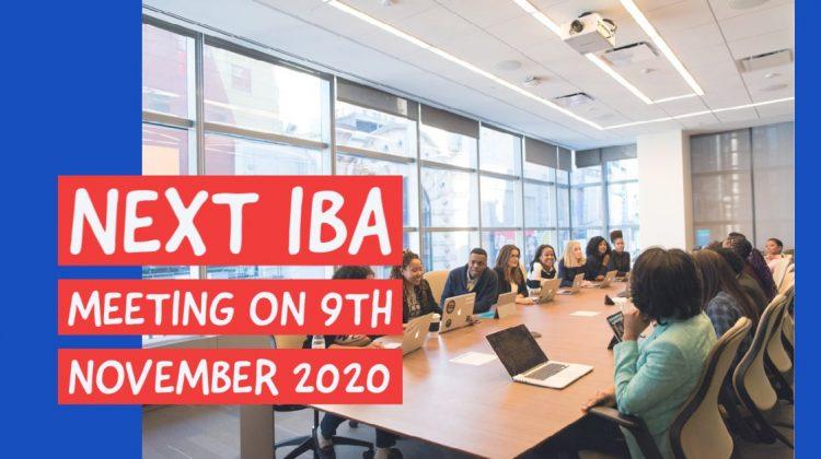 Next IBA Meeting on 9th November 2020
