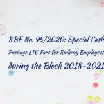 RBE No. 95/2020: Special Cash Package LTC Fare for Railway Employees during the Block 2018-2021