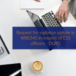 Request for vigilance update in WBCMS in respect of CSS officers - DOPT