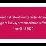 Revised flat rate of licence fee for different type of Railway accommodations effect from 01 Jul 2020