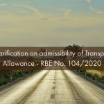 Clarification on admissibility of Transport Allowance - RBE No. 104/2020