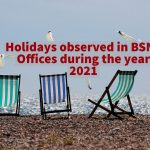 Holidays observed in BSNL Offices during the year 2021