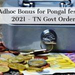 Adhoc Bonus for Pongal festival 2021 - TN Govt Order