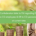 Confederation letter to FM regarding DA to CG employees & DR to CG pensioners at current rate